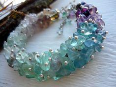 Fashion bracelet Fluorite stone bracelet Green blue purple Boho Chic jewelry Fluorite jewelry Statement birthstone bracelet Boho bracelet