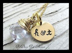 Personalized Hand Stamped Jewelry 14KT Gold Initial Charm - Birthstone - Husband & Wife - Bridesmaid Jewelry - Best Friends