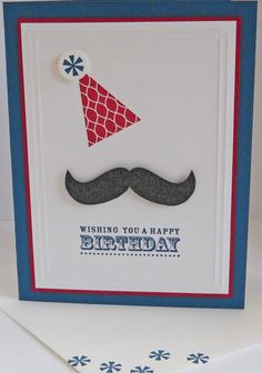 I'm loving the mustache set- gonna have to get it! Check out this cute card by Heather Heroldt from Stampin Connection! Masculine Birthday Cards, Birthday Cards For Men, Handmade Birthday Cards, Masculine Cards, Greeting Cards Handmade, Mustache Cards, Mustache Birthday, Fathers Day Cards, Scrapbook Cards