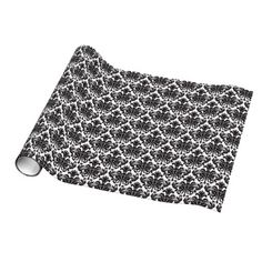Black and white damask pattern gift wrap/ wrapping paper- new from Zazzle!