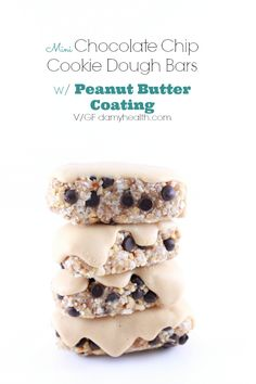 Frozen Vegan Mini Chocolate Chip Cookie Dough Bars with Peanut Butter Coating