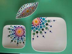 Hand Painted Pottery, Painted Pots, Pottery Painting Designs, Paint Designs, Dot Art Painting, Ceramic Painting, Mandala Rocks, Mandala Art, Ceramic Birds