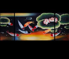 Original Painting on Canvas Modern Wall Art Decor Koi Fish Painting