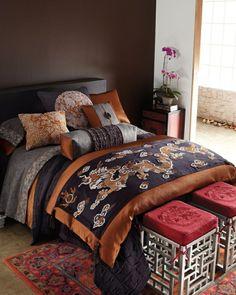 innendesign orientalisches schlafzimmer bett hocker