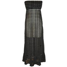 Preowned Ralph Lauren Midnight Blue & White Sheer Woven Strapless Maxi... (£685) ❤ liked on Polyvore featuring dresses, maxi dresses, white, sheer dress, strapless maxi dress, white sheer dress, ralph lauren and white dresses
