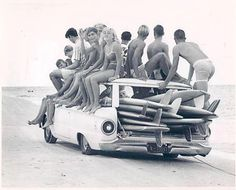 Teenage surfers in Florida, 1960s.