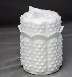Fenton Milk Glass Pricing | Fenton Hobnail Milk Glass Butterfly Jam Jar - RESERVED for nannybee11