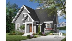 Discover the plan 3943 - Lilly from the Drummond House Plans house collection. 3 bedroom A-Frame cottage with mezzanine and large terrace. Plane, Plan Chalet, Grands Salons, Drummond House Plans, Small House Floor Plans, Lakefront Homes, Custom Home Designs, New Home Builders, Cabins And Cottages