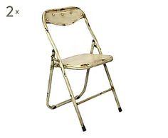 Set di 2 sedie pieghevoli in ferro Industrial - 44x79x48 cm