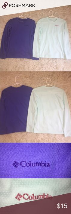 BUNDLE Columbia Girls Omni-Wick Long Sleeve Tees Columbia Girls Omni-Wick Long Sleeve Tees LIGHTLY WORN -Purple * Polyester Omni-Wick material * Purple Columbia logo embroidery * Girls Large -Pale Mint Green * Polyester Omni-Wick material * Red Columbia logo embroidery * Girls Large Columbia Shirts & Tops Tees - Long Sleeve