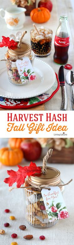 Easy Personalized Place Setting with Coke Bottles and Harvest Hash Trail Mix Recipe in DIY pumpkin mason jars! Thanksgiving table ideas Free Printable Tags for Fall party favors. by Amy Locurto Fall Party Favors, Christmas Party Favors, Christmas Mason Jars, Thanksgiving Crafts, Thanksgiving Decorations, Thanksgiving Table, Trail Mix Recipes, Fall Recipes, Party Food Table Ideas