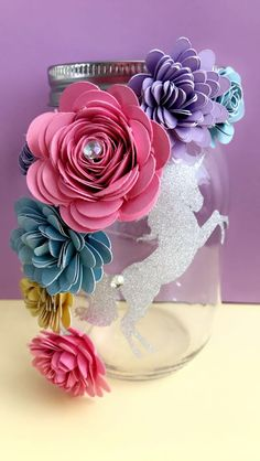 Unicorn Paper Flower Jars - make up brushes, center pieces, home decor #paperflowers https://www.etsy.com/shop/Thecraftchicky?ref=s2-header-shopname
