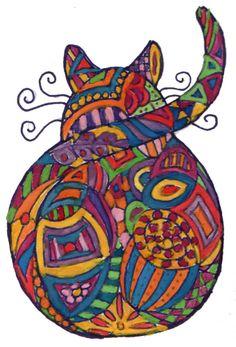 ACEO Zentangle Cat ORIGINAL Art Watercolor Pen and Ink by ArtzeeChris