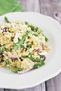 Quinoa Salad with Asparagus, Feta, and Pine Nuts #healthy #veggies #quinoa
