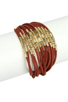 Brown Gold Suede String Bracelet