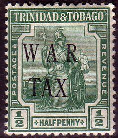 Trinidad and Tobago 1917 WAR TAX Overprint SG 179 Fine Mint Scott MR4  Other Trinidad and Tobago Stamps HERE