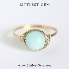 Blue Mint Ring - unique rings - wire wrapped jewelry handmade - custom, clothes, clothing, girl, girls, women, lady, outfit, accessories, jewelry, fashion, bling, gold, clear crystal, bling ring, hipster ring, boho ring, indie ring, hipster jewelry, jewellery, modern jewelry, minimalist, wedding, prom, party, club