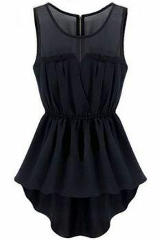 Black Sleeveless Back Zipper Bandeau High Low Dress