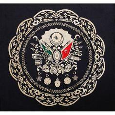 OSMANLI DEVLET ARMASI NAHT SANATI TABLO - Sanatkardan Floral Wallpaper Iphone, Golden Eagle, Ottoman Empire, Islamic Calligraphy, Coat Of Arms, Islamic Art, Beautiful Roses, Sufi, Mandala