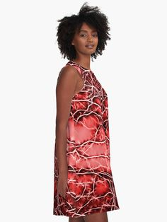A-line Printed Dress, Red Thunders, oversized dress, oversize tunic, loose dress, casual dress, sporty look, unique pattern straight from artists, summer design.  AD0007 - ... #fashion #style #trending #etsy #clothing