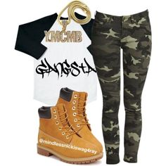 Camo Gangsta!, created by mindlessnickiswag4ray on Polyvore | Girl ...