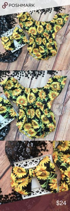 Boutique Baby Girl Sunflower Romper & Headband 2pc Beautiful and vibrant color combo. Yellow Sunflower on black print. 2 piece outfit includes romper with gathered ruffle neckline and waist. Snaps at bottom. Wear on or off shoulders. Includes matching headband. One Pieces Bodysuits