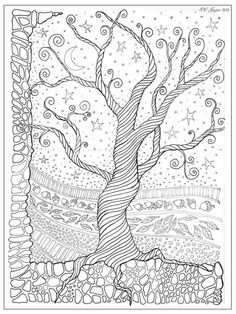 Suzysmuse is raising funds for Adult Coloring Book Page Digital Weekly Subscription Service on Kickstarter! This project is a weekly coloring page subscription service. A stunning, new coloring page will be delivered to your email every week! Adult Coloring Pages, Coloring Pages For Grown Ups, Tree Coloring Page, Doodle Coloring, Printable Coloring Pages, Colouring Pages, Free Coloring, Coloring Books, Coloring Sheets