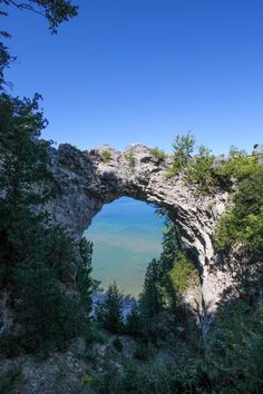 Arch Rock, a natural limestone arch on Mackinac Island