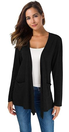 Buy TownCat Women's Loose Casual Long Sleeved Open Front Breathable Cardigans with Pocket: Shop top fashion brands Sweaters at ✓ FREE DELIVERY and Returns possible on eligible purchases Open Front Cardigan, Long Cardigan, Sweater Cardigan, Waterfall Cardigan, Office Dresses, Cardigans For Women, Women's Cardigans, Fashion Clothes, Winter Fashion