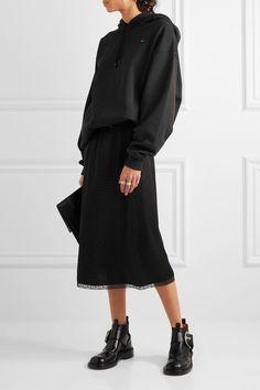 Maison Margiela - Lace-trimmed Jacquard Midi Skirt - Black - IT36