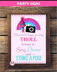 Troll Party Signs Set  Large Circles Party Decorations
