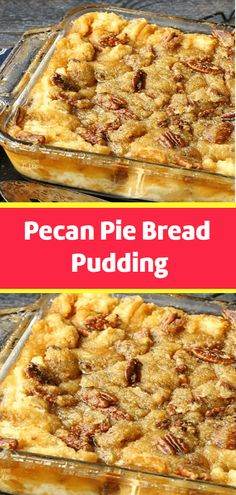 Pecan pie bread pudding - The fall styled desserts are amazing Every single one tastes so good, mostly because they are homemade There is just something about homemade food that tastes more delicious I believe it's the lo No Cook Desserts, Just Desserts, Delicious Desserts, Yummy Food, Brunch Recipes, Sweet Recipes, Top Recipes, Easy Recipes, Recipies