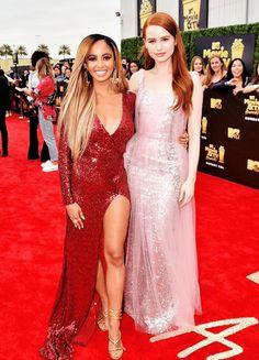 Madelaine Petsch and Vanessa Morgan attend the 2018 MTV Movie And TV Awards at Barker Hangar in Santa Monica (June 16)