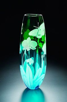 Orchid and Butterfly art glass by Cynthia Myers