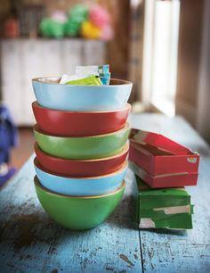 painted wood bowls.