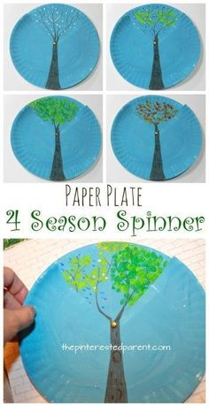 Paper plate four season spinner. Winter, spring, summer and fall trees. arts and crafts for kids.