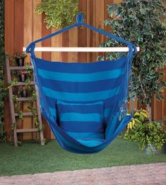 What better way to relax in the summer than in a hammock! This hammock chair will become your favourite spot! Vibrant blue striped cotton with birch wood spreader bar and hanging loop. Chair measures wide x high Indoor Hammock, Hammock Swing Chair, Chair Yoga, Hammock Stand, Swinging Chair, Hammocks, Mexican Chairs, Cool Swings, Indoor Aquaponics