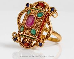 Beautiful gold statement ring with enamel work and studded with colorful polki stones. For inquiries please contact the seller below. Seller Name : PNG Adgi