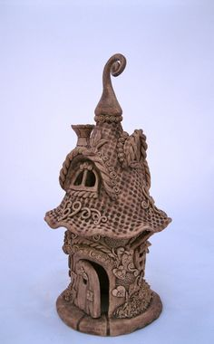 Ceramic Gnome Home Handbuilt Jolly Garden Decoration by ClaySoul