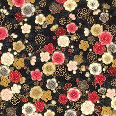 Japanese Import - Hyakka Ryoran Peacock - Blossoms - Black/Gold