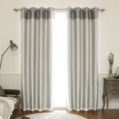 Faux Silk Top Border Grommet Curtain Panel with Blackout Lining