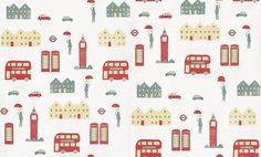 London (2300004) - Paper Moon Wallpapers - A London design, showing telephone boxes, Big Ben and London buses in a slightly textured, red, blue and cream design on a off white, small spotted background. Co-coordinating items are available. Paste the Wall product. Please request a sample for true colour match.  As this is a special order product, it may take 7-10 working days.
