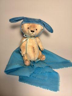 Stuffed animal Teddy Bear in a bunny plush hat by ShopHappyTeddy