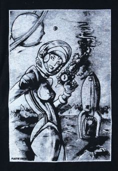 T-shirt-w-Vintage-Style-Sci-Fi-Graphics-of-Sexy-Astronaut-Girl-Holding-Ray-Gun