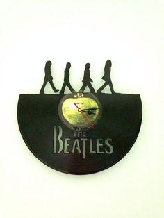 The Beatles Abbey Road vinyl record clock-- more record clocks at my online shop www.MusicAsArtBySarah.etsy.com