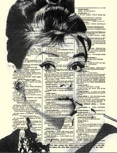 Audrey Hepburn, Breakfast at Tiffany's, Holly Golightly, Art Print, Dictionary Art, Book Art, Wall Decor, Wall Art, Mixed Media Collage. $10.00, via Etsy.
