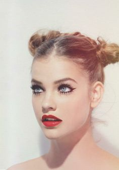 Full lashes, red lips, and rocking pigtail buns! #makeup