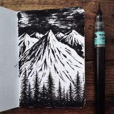Brush pen scribbles. 9 new pocket notebook designs in production. #InsideSamLarsonsNotes