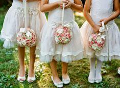 Outdoor Wedding - Flower Ball For Flower Girls Flower Girl Bouquet, Flower Girls, Flower Girl Dresses, Flowergirl Flowers, Flower Bouquets, Lace Dresses, Girls Dresses, Wedding Girl, Dream Wedding