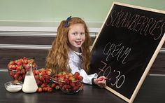 Tallulah Todd, eight, from Horndean, Hampshire, finds the perfect strawberries and cream experience